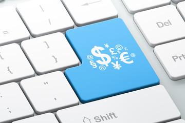 Business concept: Finance Symbol on computer keyboard background