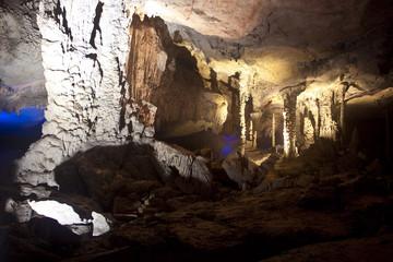 Karst limestone Tham Kong Lo cave, Laos
