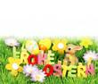 Frohe Ostern - Buchstaben mit Blumen und Ostereiern