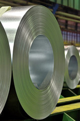 Huge rolls of tinplate galvanized in the factory