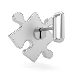 Steel puzzle with key