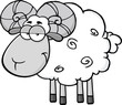 Cute Ram Sheep Cartoon Mascot Character In Gray Color