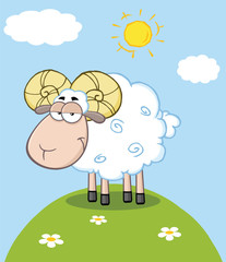 Cute Ram Sheep Cartoon Mascot Character On A Hill