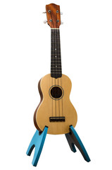 A wooden ukulele, knocked out, with clipping path.