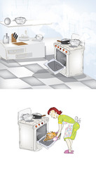 woman is a kitchen