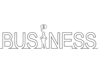 Black line art of the word 'BUSINESS' with a man in it.