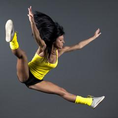 Art performer juming in the air