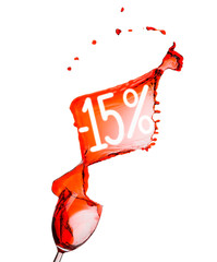 Red wine splash. 15% Sale Discount. Isolated on white background