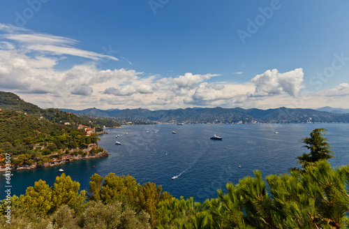 Summer view of Tigullio Gulf near Portofino, Italy