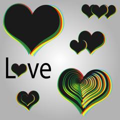 Black Rainbow Hearts