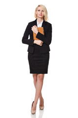 businesswoman holding her agenda