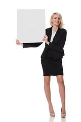 businesswoman with cardboard