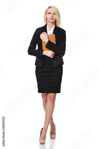 businesswoman holding her agenda