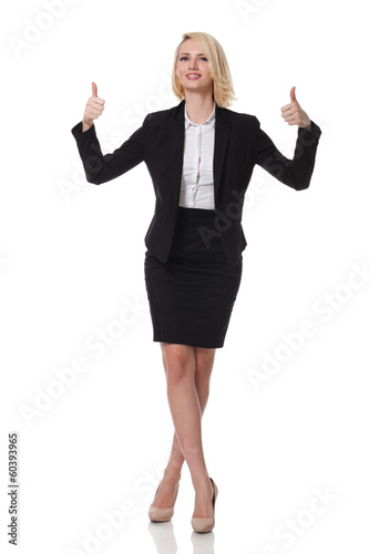 businesswoman showing victory signs, ok