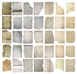 old papers set isolated