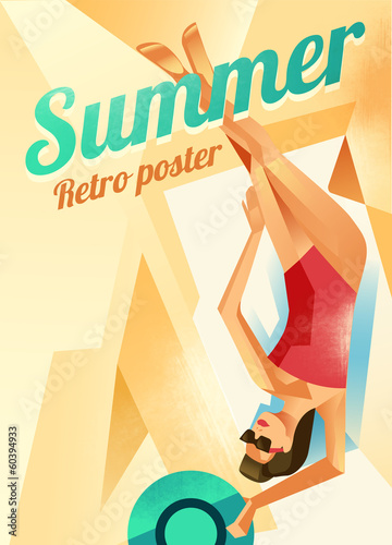 Retro poster with a girl on a beach. Vector