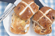 Hot Cross Buns toasted and buttered