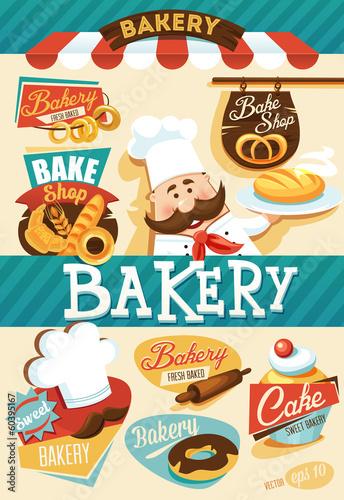Fototapeta Bakery design elements