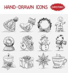 Hand-drawn icons. Christmas