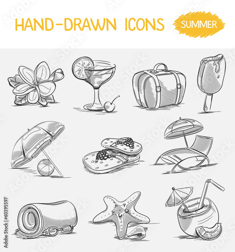 Hand-drawn icons. Summer