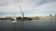 General cargo ship working in harbor