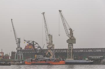 Hamburg, Hafen, Hafenarbeit, Verladekranen, Kranen, Deutschland