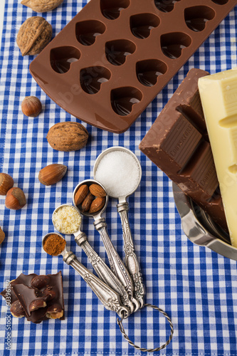 Preparation of chocolate sweets for valentines day