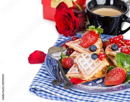 Heart shaped waffles for romantic breakfast