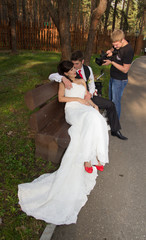 Videographer shoots newlyweds