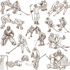 Ice Hockey - hand drawings collection on white