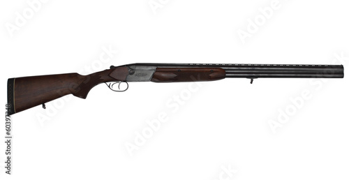 Double-barrelled hunting gun isolated on white - 60397348