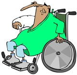 Injured man in a wheelchair