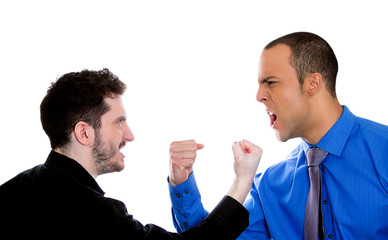 two angry mad men yelling screaming shouting at each other