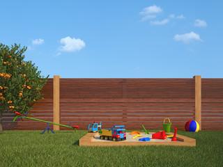 garden with children's playground