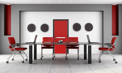 Red and black boardroom