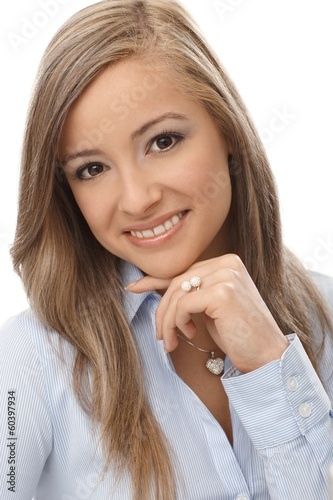 Closeup portrait of happy woman