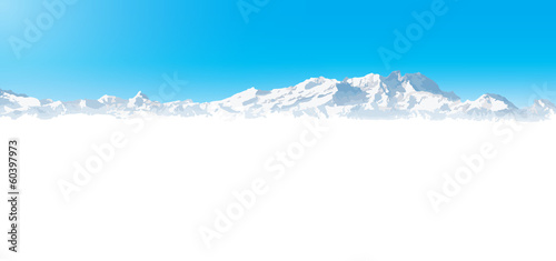 winter mountain landscape with snow