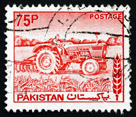 Postage stamp Pakistan 1978 Woman Tractor Driver