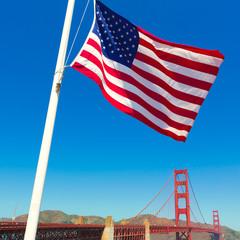 Golden Gate Bridge with United States flag San Francisco
