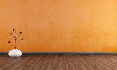 Empty orange room