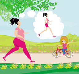 Young woman jogging,fat girl dreams to be a skinny girl