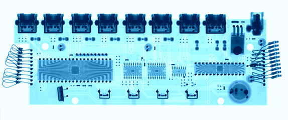 Microelectronic board under the X-rays