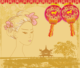abstract Asian Landscape and beautiful geisha