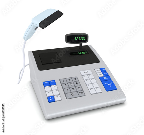 cash register and barcode reader