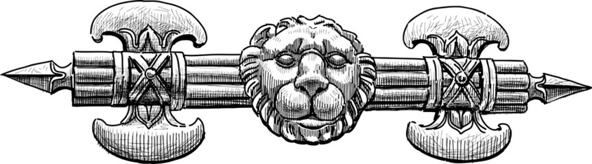 architectural detail of axe and lion head