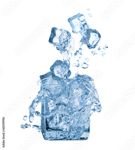 Ice cubes and water in glass
