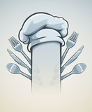 Kitchen utensils for cooking fork knife spoon and cap vector