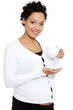 Young pregnant woman drinks cafe or tea