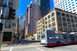 San Francisco downtown buildings and tram California