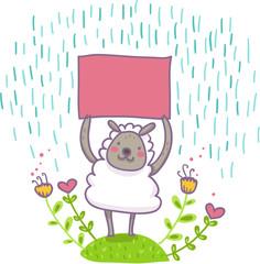 buffa pecorella tiene un cartello vuoto sotto la pioggia